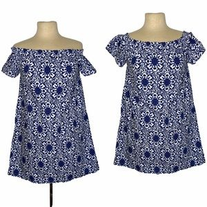 Vineyard Vines Blue White Mandala Print Off On Shoulder Dress Small